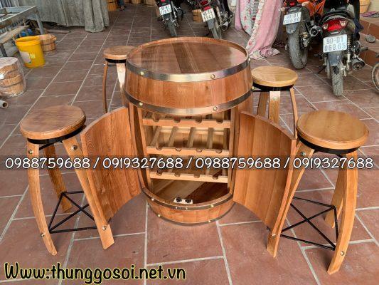 bán bàn ghế thùng rượu gỗ