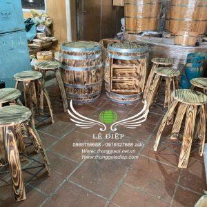 bán bàn thùng rượu trang trí