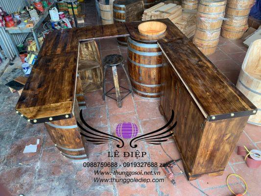 bàn quầy bar gỗ thông