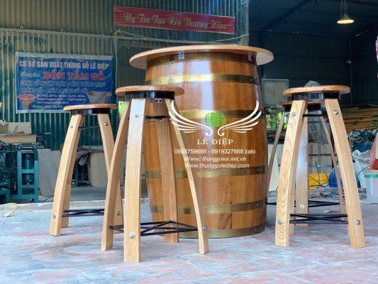 bàn thùng rượu gỗ thông