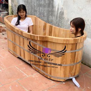 bồn tắm đôi gỗ sồi