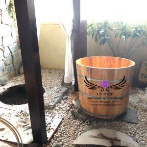 bồn tắm gỗ resort tại phú quốc