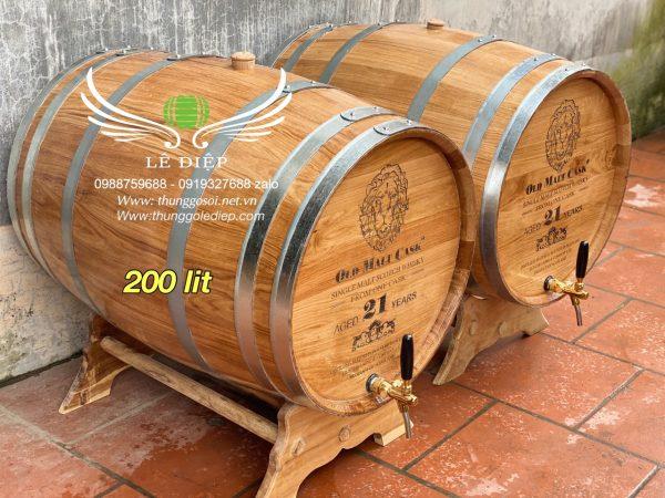 thùng ngâm rượu gỗ sồi