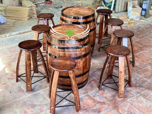 bàn trang trí thùng rượu gỗ giá rẻ
