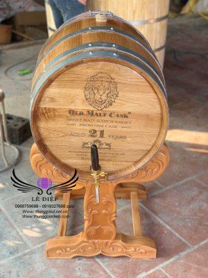 thùng rượu gỗ sồi khắc mặt laze cao cấp