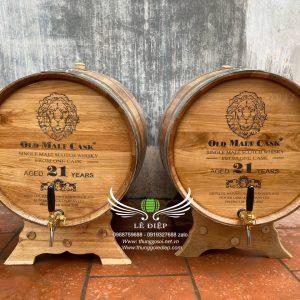 thùng rượu khắc mặt laze cao cấp