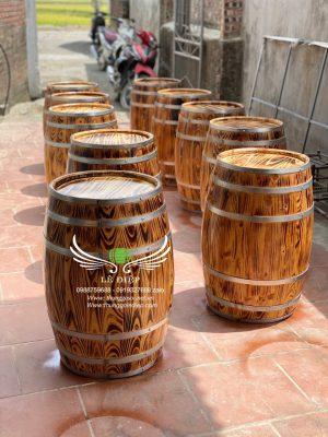 thùng rượu trang trí gỗ thông