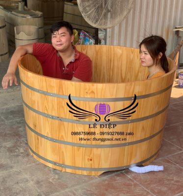 thùng tắm đôi gỗ thông