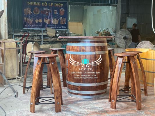 bán thùng rượu gỗ trang trí